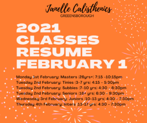 2021 Classes Resume 1st February